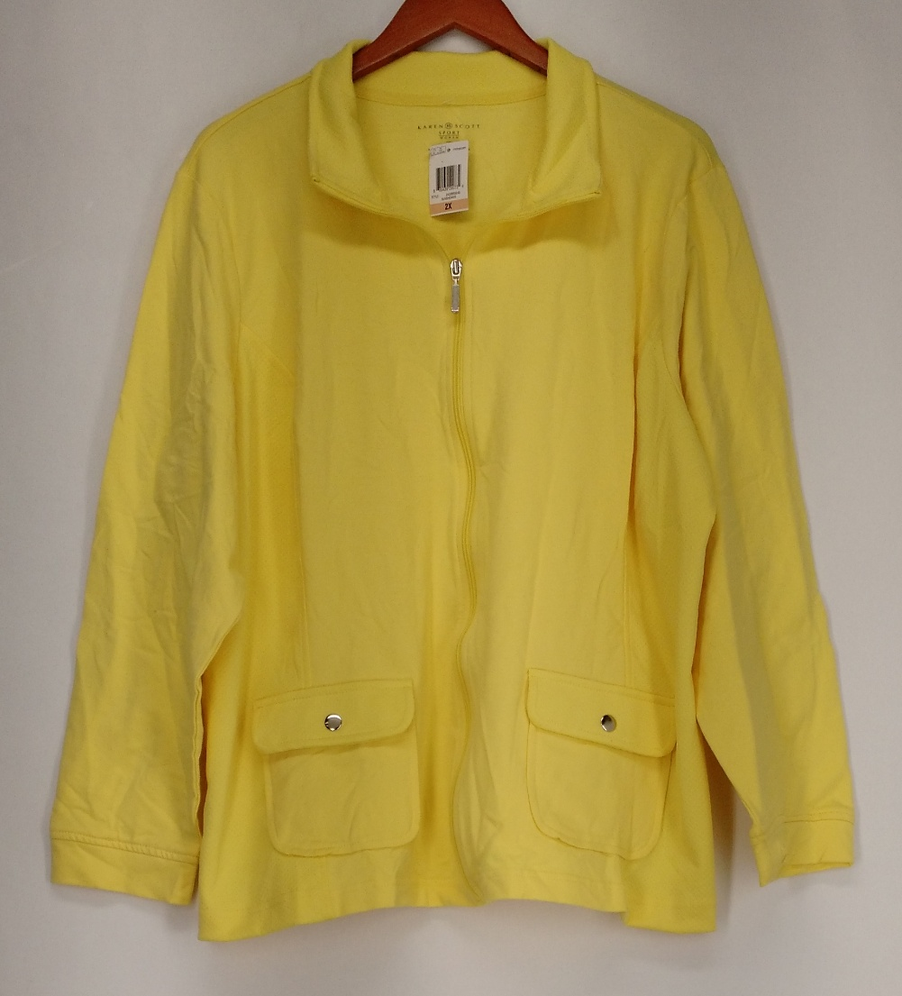 Karen Scott Plus Size 2X Long Sleeve Jacket Sunshower Yellow NEW 2nd  eBay # Sunshower Coat_021838