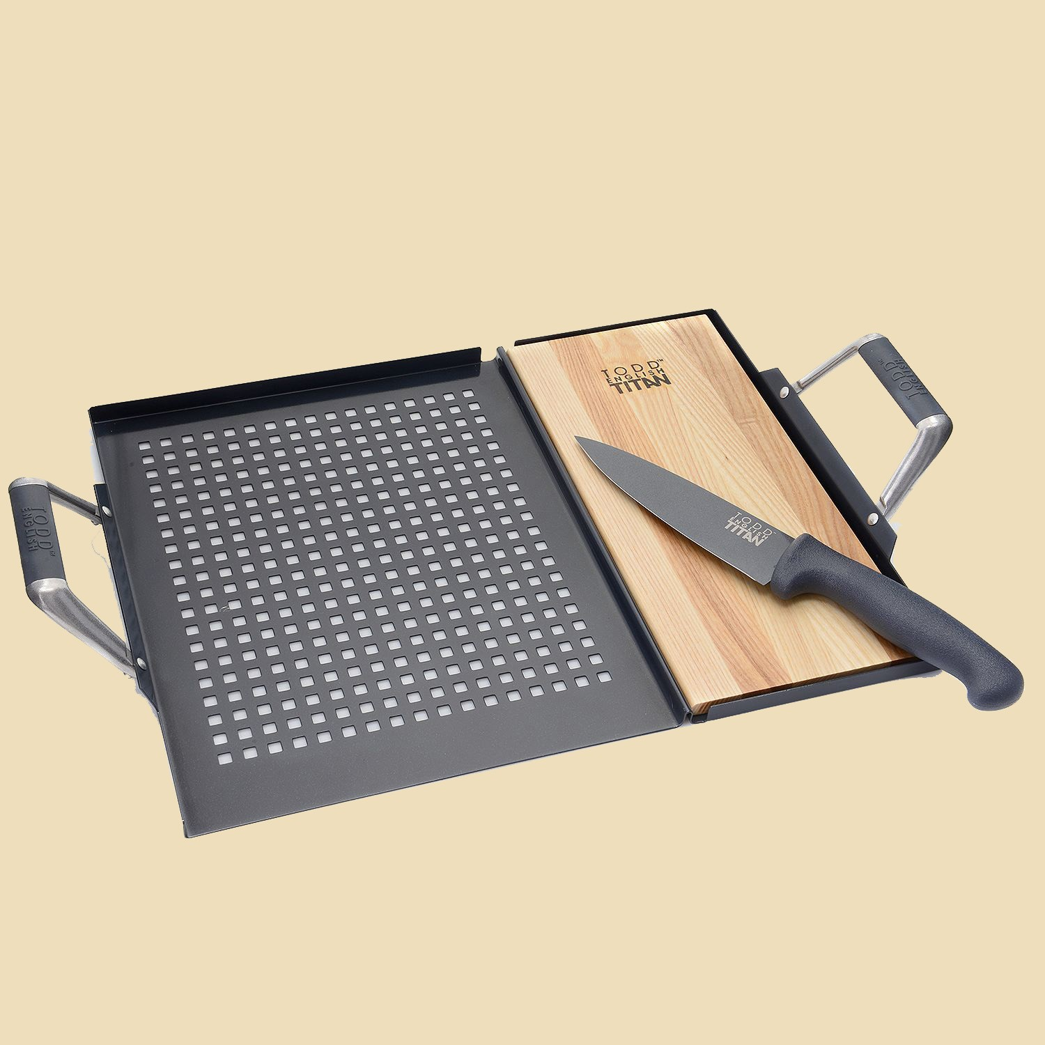 todd english super titan three piece grill pan chef 39 s knife cutting board new ebay. Black Bedroom Furniture Sets. Home Design Ideas