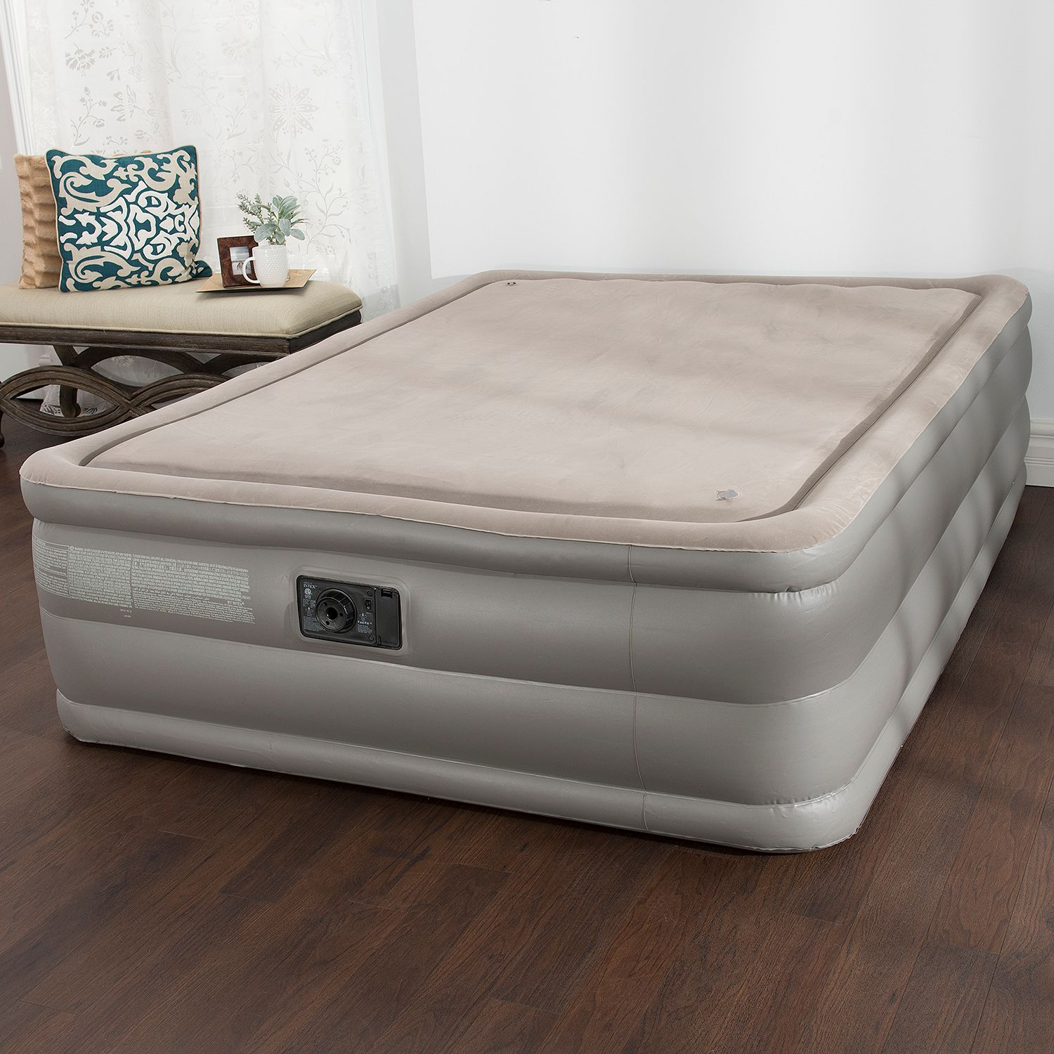 Intex Memory Foam Top High Rise Inflatable Air Bed Mattress Queen New Ebay
