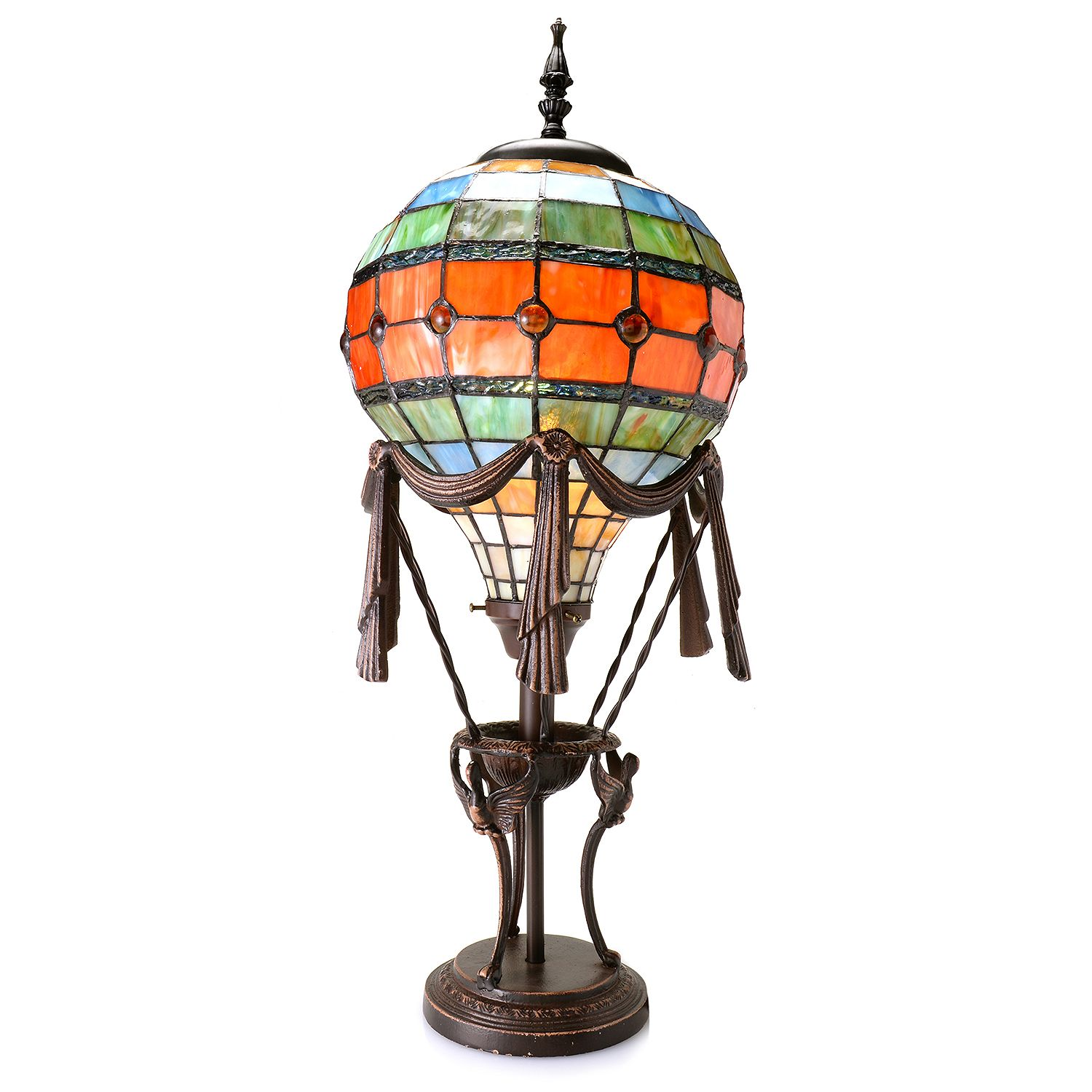 Tiffany-Style Hot Air Balloon Table Lamp Multi New