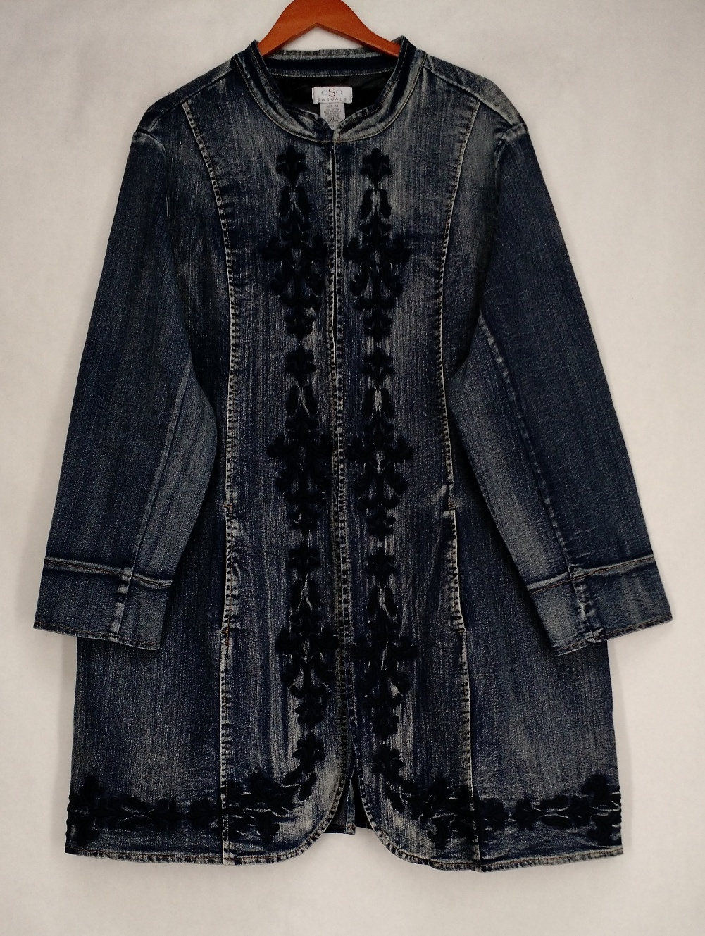 Oso casuals plus size embroidered long denim jacket blue