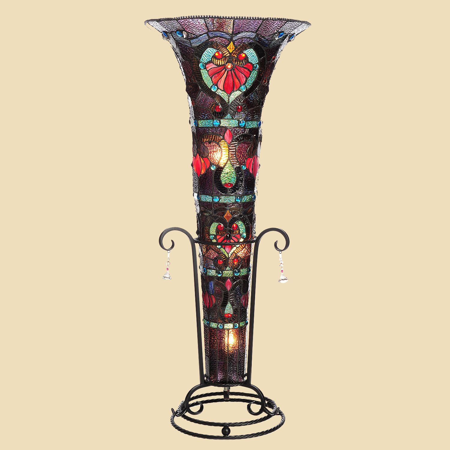 tiffany style 435quot stained glass ruby ribbons vase floor With tiffany style vase floor lamp