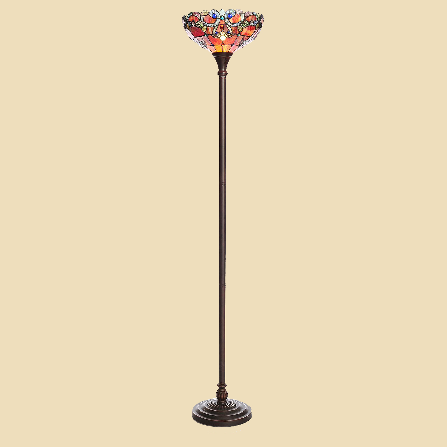 Tiffany style stained glass magna carta floor lamp spice for Tiffany style floor lamp canada