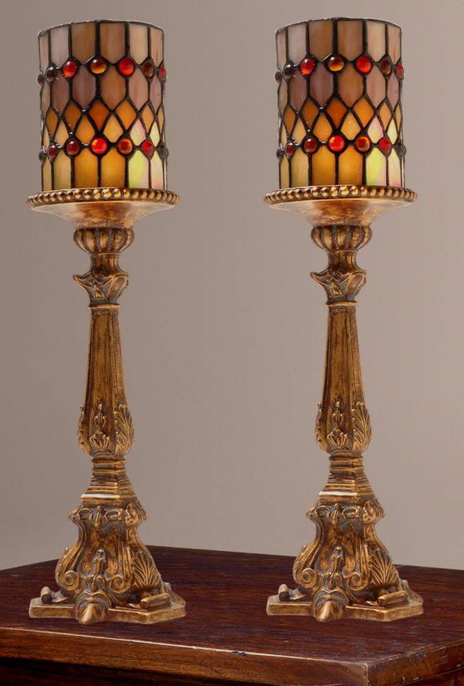 Tiffany Style Set Of 2 Cordless Candle Holder Accent Lamps