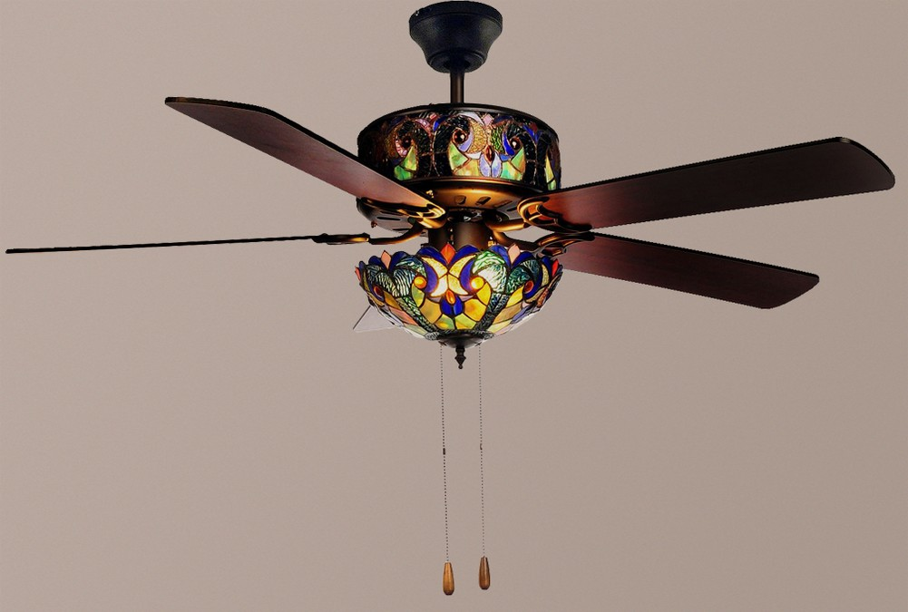 "... Style 52"" Halston Double Lit Stained Glass Ceiling Fan Blue NEW 