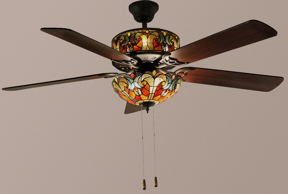 Tiffany-Style 52u0026quot; Halston Double Lit Stained Glass Ceiling Fan Spice NEW : eBay
