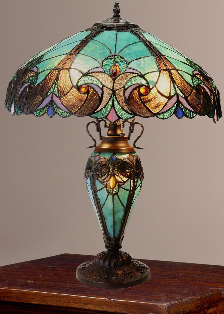 tiffany style halston double lit stained glass table lamp. Black Bedroom Furniture Sets. Home Design Ideas