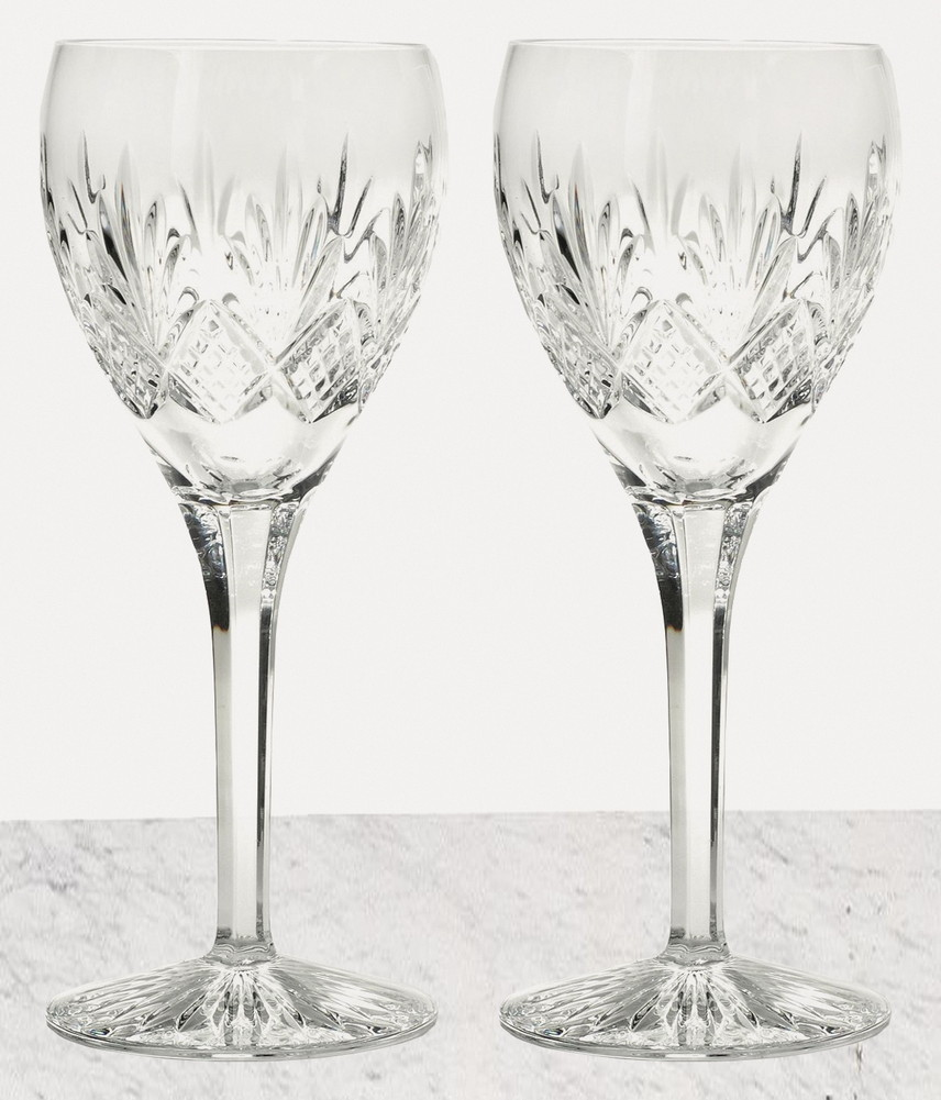 Waterford crystal kelley red wine pair of glasses new ebay - Waterford colored wine glasses ...